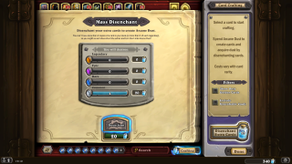 Hearthstone crafting ui screenshot