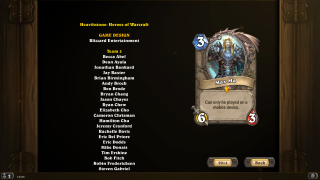 Hearthstone credits ui screenshot