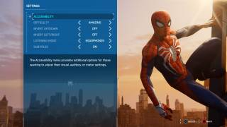 Marvel's Spider-Man settings ui screenshot