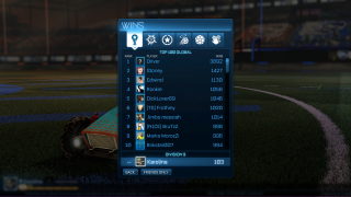 Rocket League rankings ui screenshot