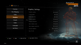 Tom Clancy's The Division settings ui screenshot